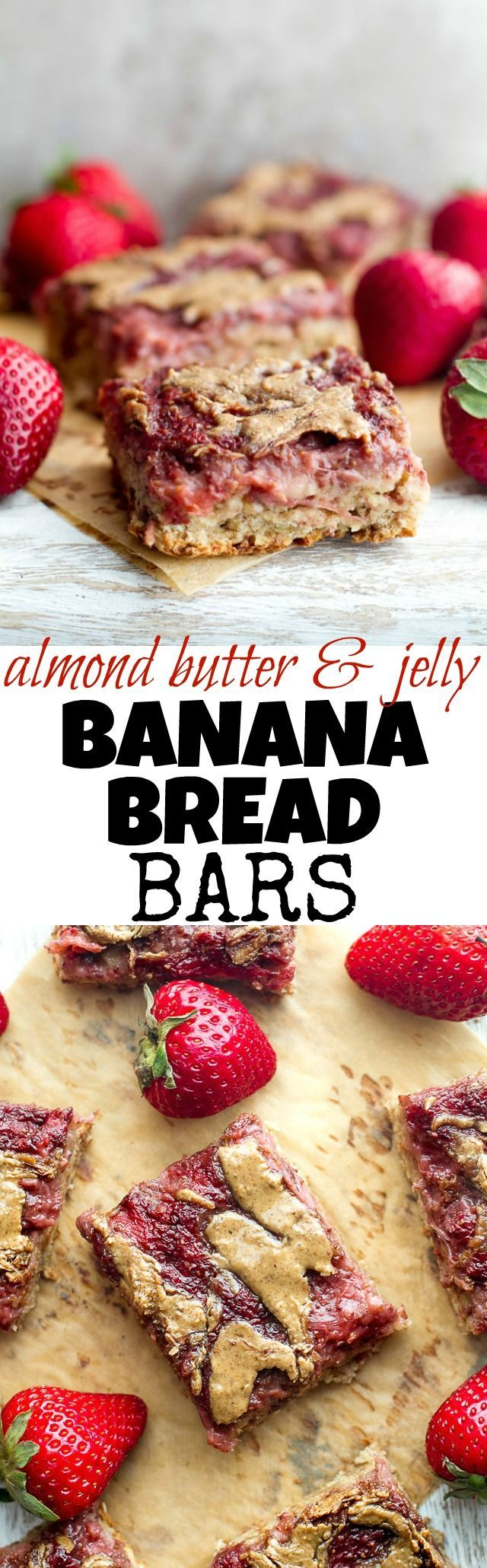 These DELICIOUS Almond Butter and Jelly Banana Bread Bars are SO soft, tender, and flavorful that you'd never believe they're made without any flour, oil, or refined sugar! | runningwithspoons... #vegan #glutenfree #healthy #recipe