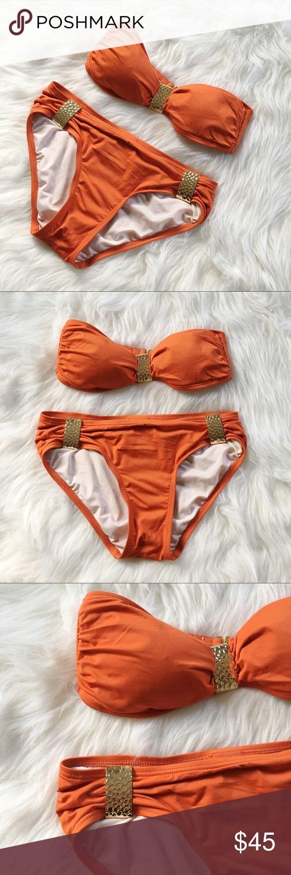 Michael Kors Strapless Orange Bikini Good condition - slight pilling at bottom of suit. Only worn once! Michael Kors Strapless Orange Bikini. Stylish gold hardware. Size PS [petite small]. No modeling/trades. Michael Kors Swim Bikinis