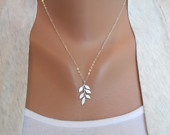 Leafy: Silver Necklaces, Sterling Silver Chains, White Gray, Leafy Necklace, Leaf Patterns, Leaf Necklace, Dainty Necklace, Gray Leaf