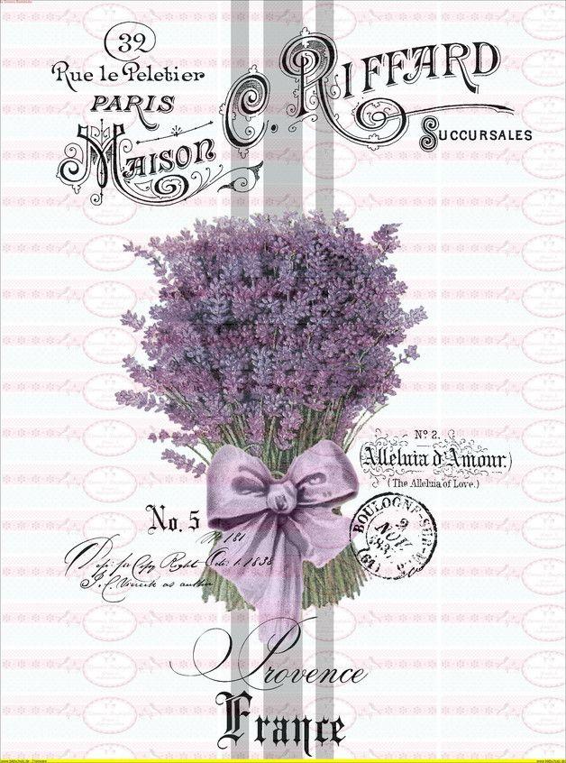Bügelbild Lavendel Lila Vintage Shabby 1733