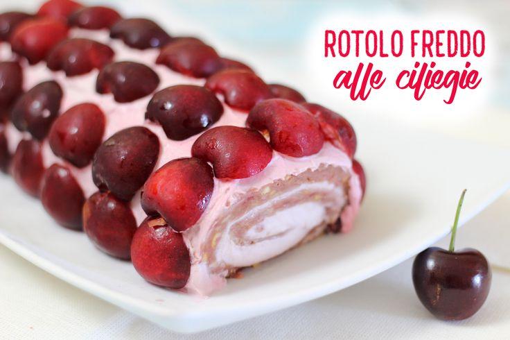 Il rotolo freddo alle ciliegie è un dolce molto goloso ripieno di ricotta, panna e marmellata di ciliegie! Con una decorazione colorata e