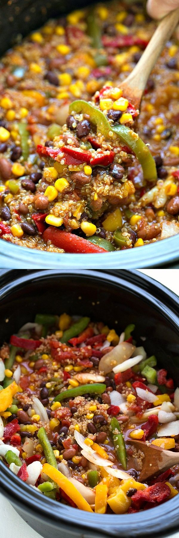 1 can Black beans. 1 can Chili beans. 1 can Corn. 1 tsp Garlic. 1/4 cup Jalapenos. 1 can Tomatoes. 1 package Tri-color pepper and onion blend, frozen. 2 1/4 cups Vegetable or chicken broth. 1 cup Quinoa. 1 package Fajita seasoning. 1 tsp Cumin. 1 cup Mexican blend or fiesta blend shredded cheese.