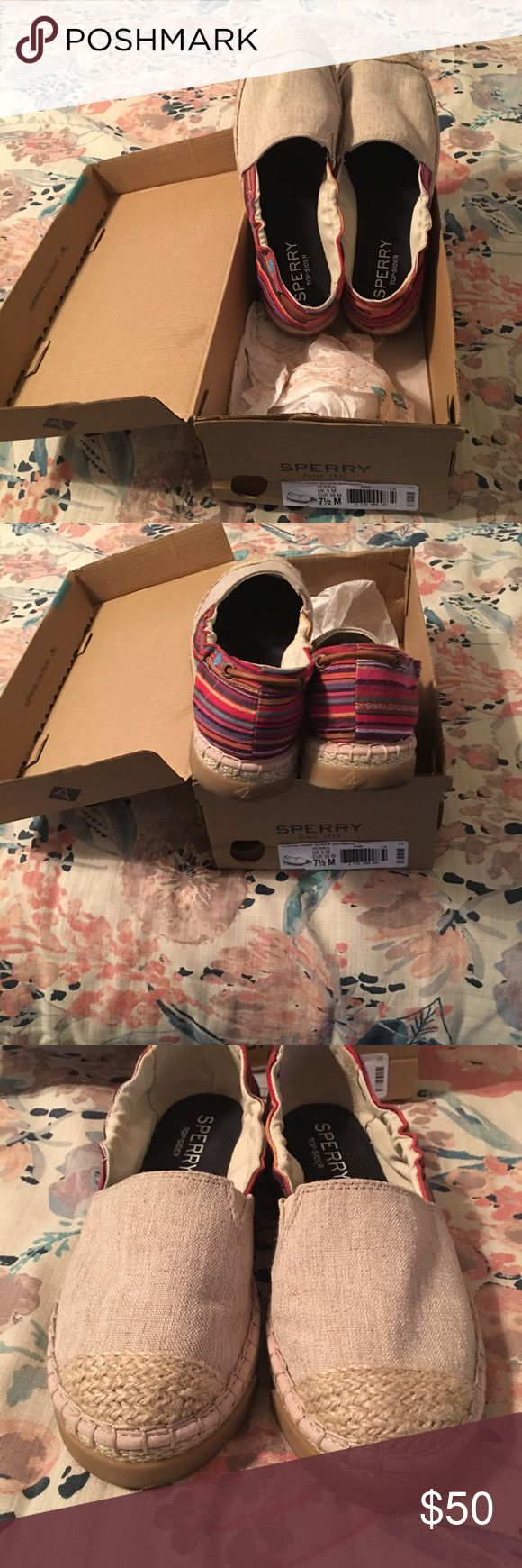 Sperry Canvas Top slider Sale🎉🎉worn once. Sperry Top sliders in excellent condition. Please make me an offer! Sperry Top-Sider Shoes Flats & Loafers