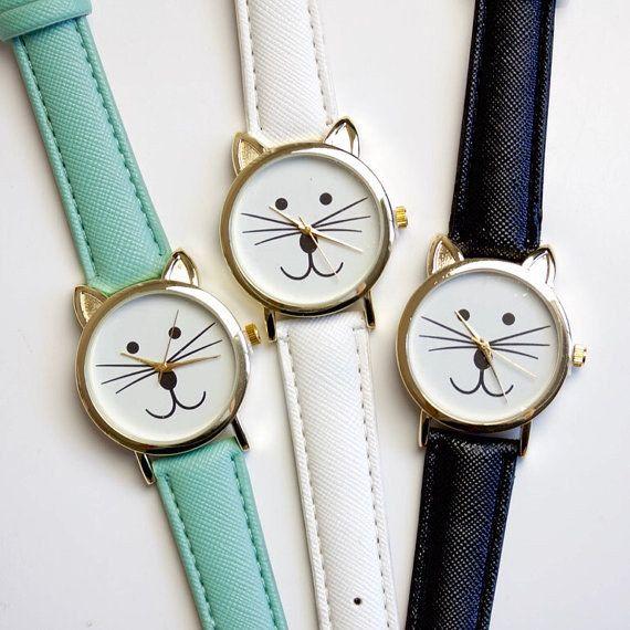 A cat face wrist watch.