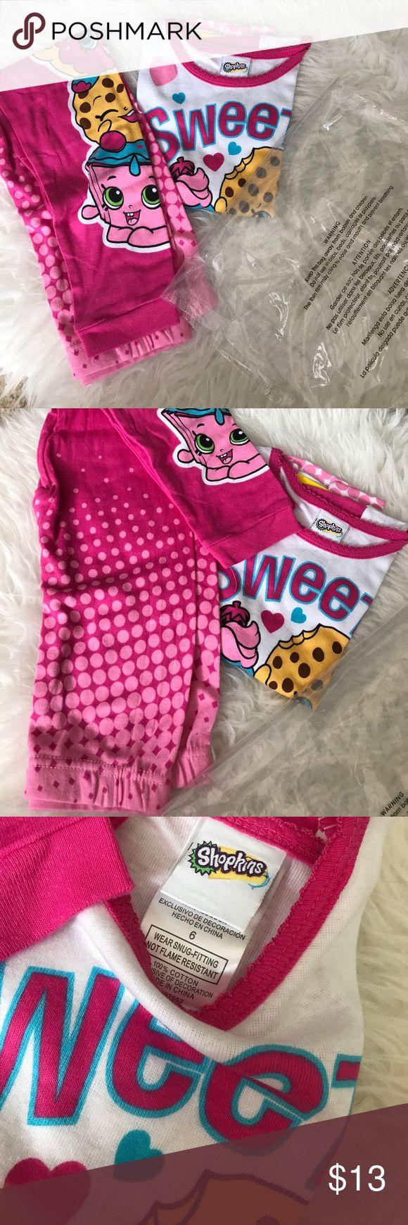 🆕Shopkins Pajama set size 6 New no tags, girls pajamas set with pants and short sleeve tee size 6 shopkins Pajamas Pajama Sets