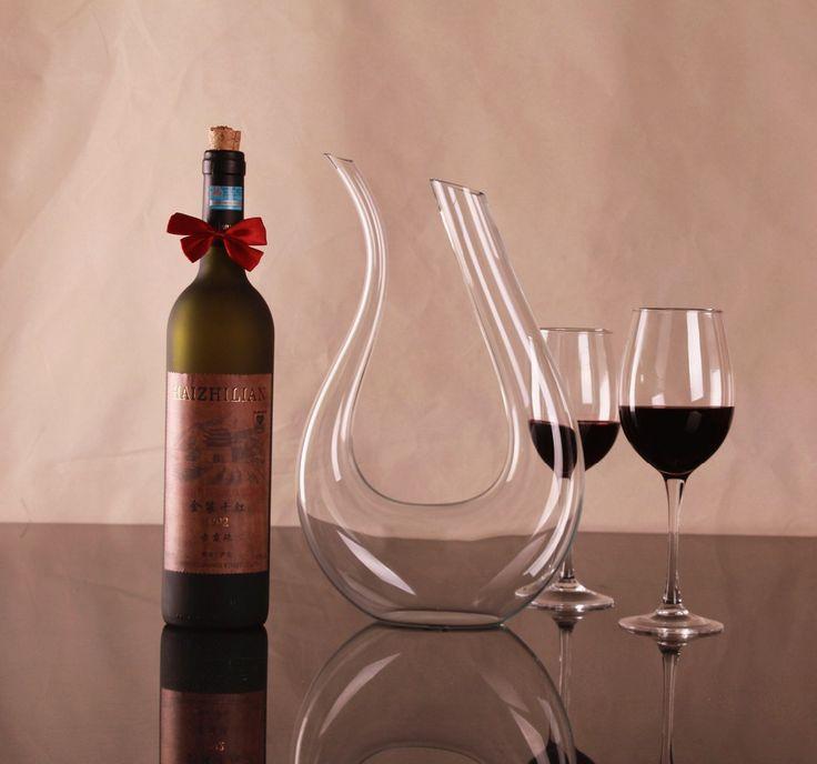 1PC 1500ml Big crystal handmade red wine decanter wedding wine decanter red wine glass wine dispenser U-shaped decanter J1102