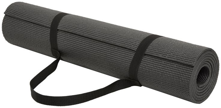 AmazonBasics 1/4-Inch Yoga and Exercise Mat with Carrying Strap, Black. Black exercise mat for yoga, pilates, and other workout routines. Textured non-slip surface for enhanced traction. 1/4-inch thickness for comfortable, cushioning support. Made of lightweight, durable foam; carrying strap included. Measures approximately 74 x 24 x 0.25 inches (LxWxH).
