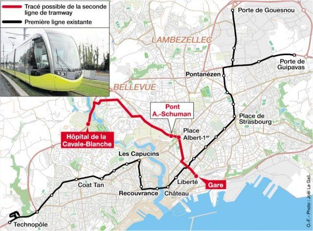 Brest - La deuxième ligne de tram ira de la gare à Bellevue - Pas avant 2025 !