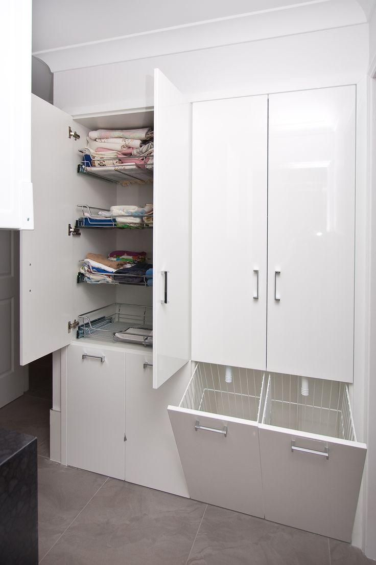 Maximise the storage capacity of your laundry. www.onecallkitchens.com.au