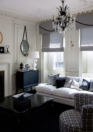 Black And White Living Room Ideas. My hubby would love this color