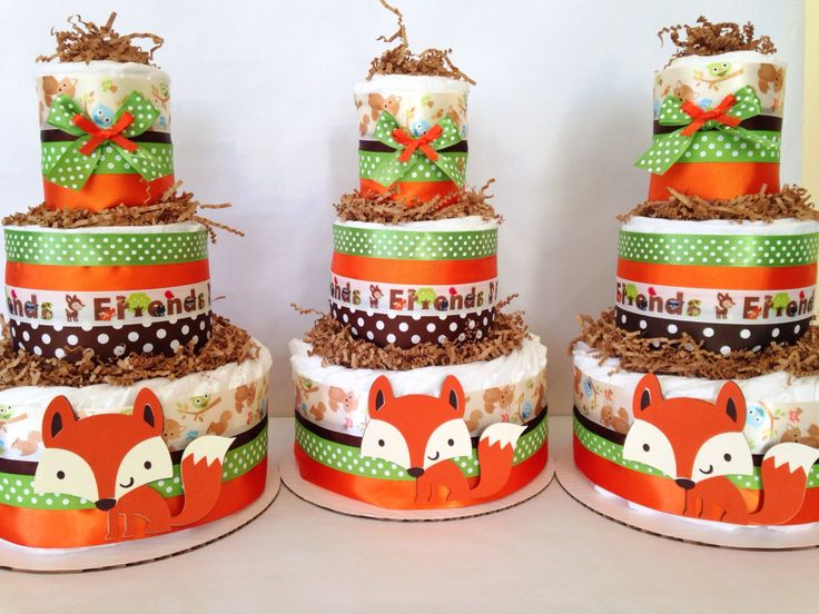 Forest Friends Woodland Diaper Cake Fox Theme By