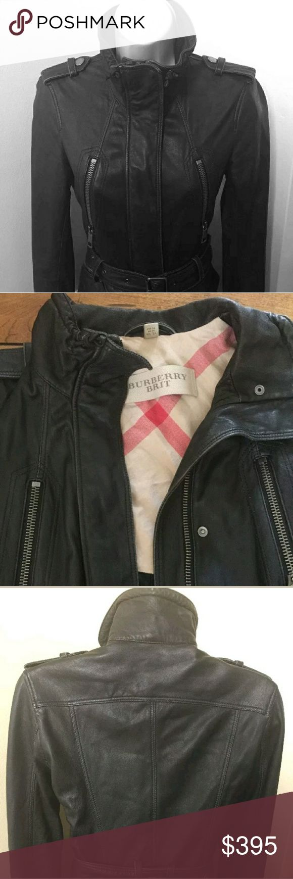 Burberry Brit Leather Motorcycle Jacket size 2 Very good condition. Please see pics. Ships via priority Leather is distressed.  Smoke and pet free  Silver tone hardware  Fully lined  Made in Italy  100% lambskin  Leather belt  Four front zip pockets  Zip up hidden by flap  Shoulder epaulets with snaps -on the left one the stitching is coming loose on the side closest to the front but it is intact  Pre owned in good condition  No stains of any kind  Size US 2 Burberry Jackets & Coats