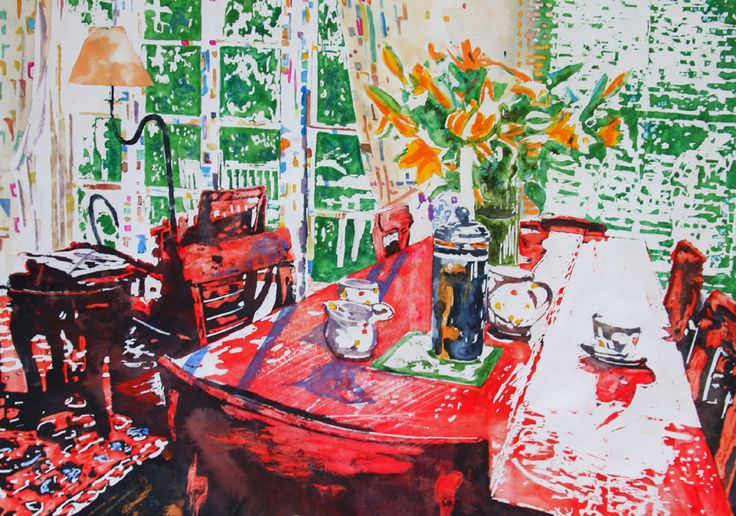 "parisian interior with lilies 15"" x 20"" micheal zarowsky /  watercolour on arches paper / available $550.00"