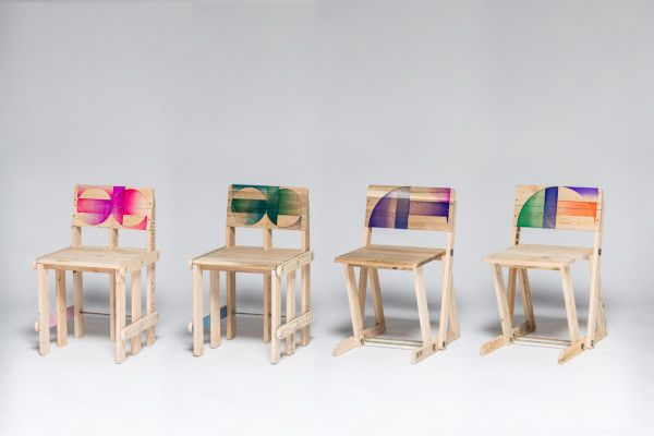Recycled Pallets Becomes Chairs with Acrylic Details.  The chairs' patterns were inspired by Art Deco designs, which were prominent during that time