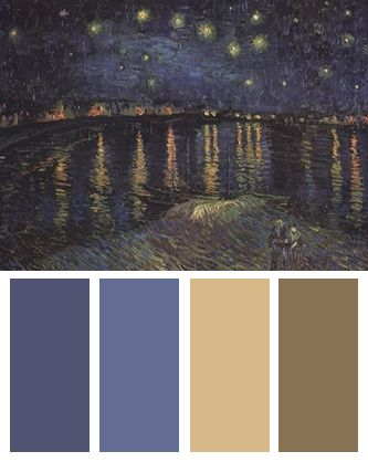Color Palette inspired by Vincent van Gogh's Starry Night over the Rhone