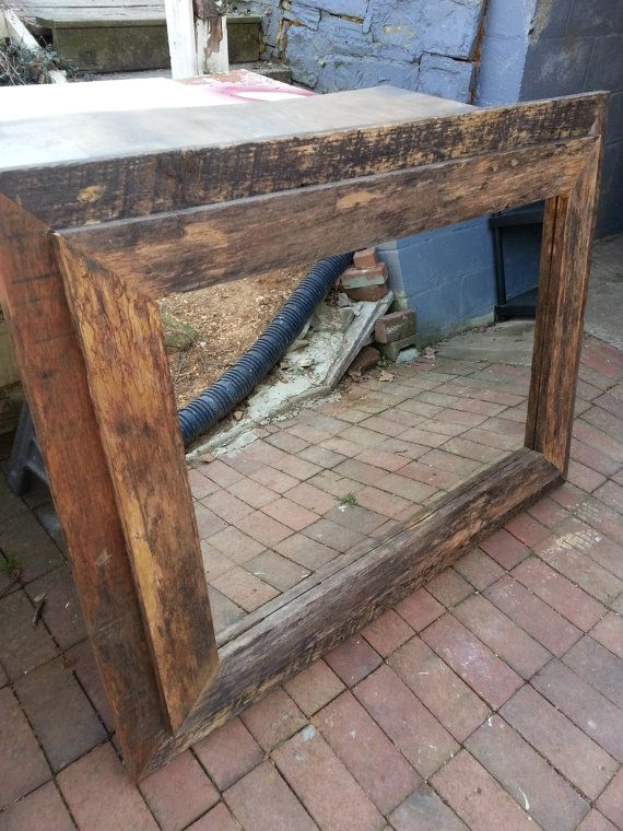 Rustic Mirror  Barnwood by AllieCatCreations8 on Etsy, $125.00