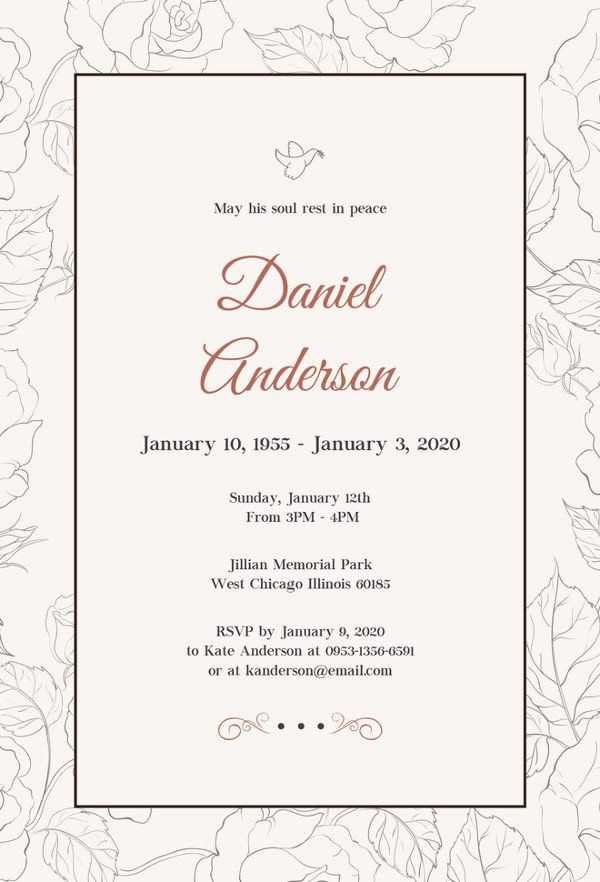 28 Free Funeral Invitation Template In 2020 Funeral Invitation
