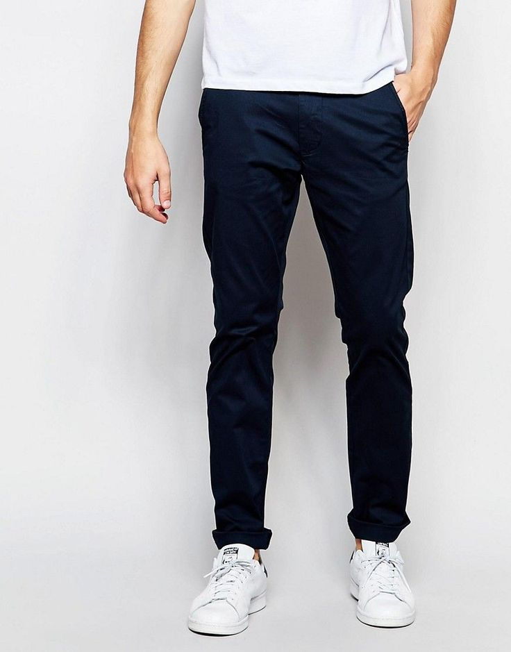 Selected Homme Slim Fit Chinos with Italian Leather Belt - Blue