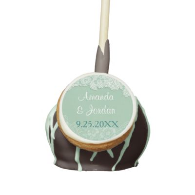 Click here for More Wedding Wildlife Themes by SpiceTree Weddings! Pretty custom cake pops feature an elegant soft mint green shade with tone on tone damask lace. Customize the bride and groom names and date text. Other matching items available in my store. #lace #wedding #cake #pop #mint