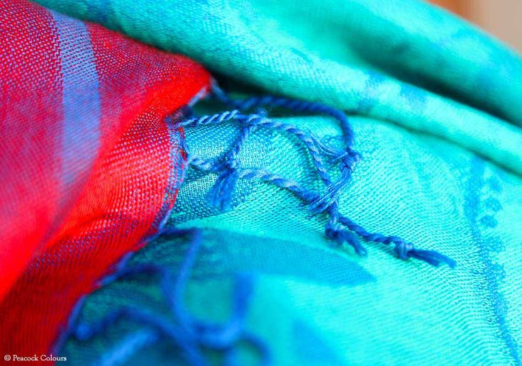 Silk shawls - Silk shawl - Rajasthani bright red and deep blue - PC - 2065 - 3