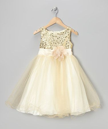 This Gold Sequin Tulle A-Line Dress - Infant, Toddler & Girls by Kid's Dream is perfect! #zulilyfinds