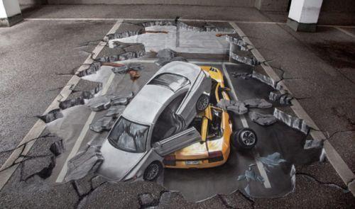 trompe loeil art   3D Street Art at WomansDay.com - Trompe L\'oeil Art on imgfave