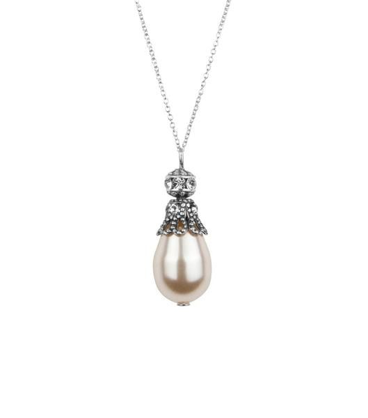 Rhinestone Embellished Pearl Pendant Necklace by Katherine Swaine #weddings #bridal #jewellery #gifts #ukmade