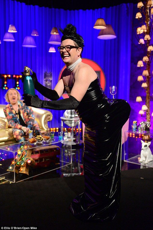 Playful nature:Alan Carr has tried his luck at recreating the famous champagne glass pose...