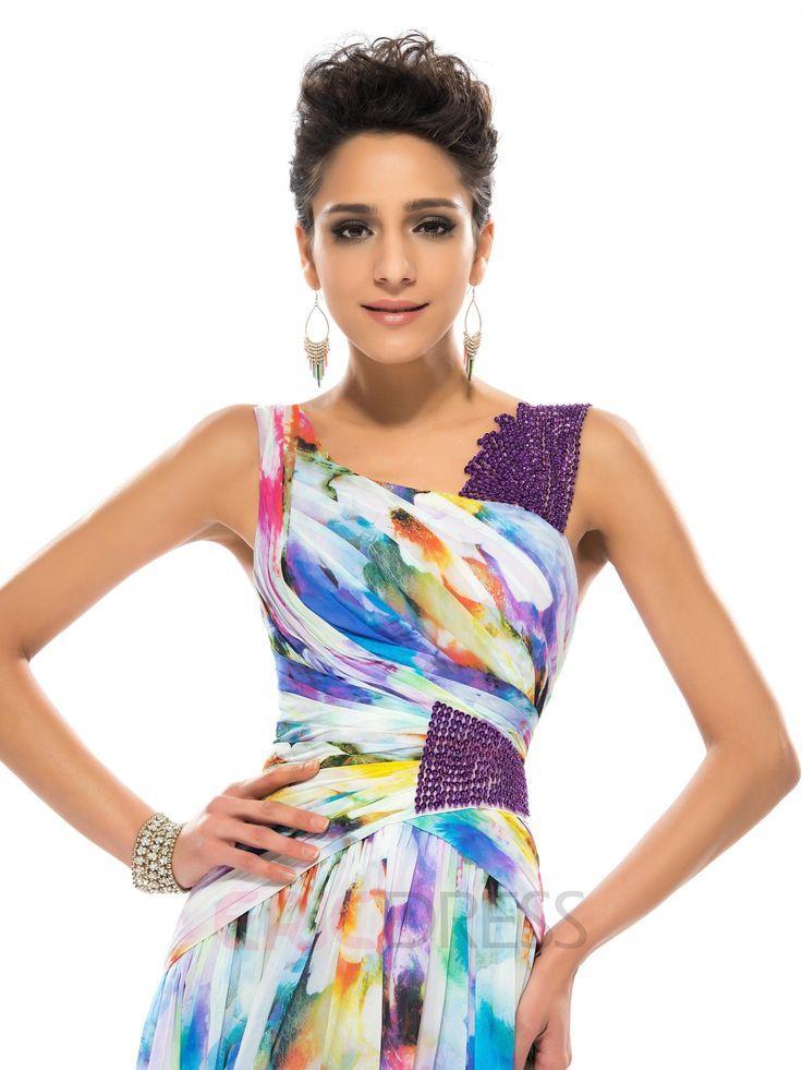 Timeless Straps A-Line Floor-length Printed Evening Dress  5