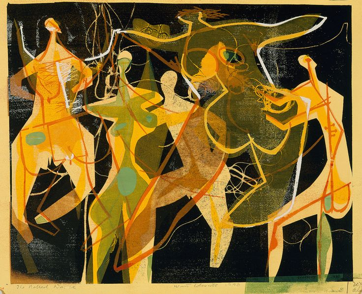 Warrington Colescott (American, b. 1921) The Naked Dance, 1948 Color screenprint on yellow paper image: 11 1/2 × 14 1/16 in. (29.21 × 35.72 cm) sheet: 12 3/8 × 14 7/8 in. (31.43 × 37.78 cm) Milwaukee