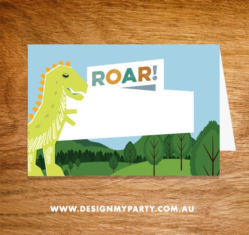 Dinosaur Buffet Labels or Name Cards DIY by DesignMyPartyShop