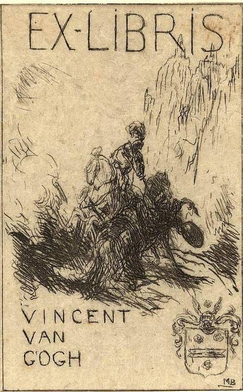 Bauer, M.A.J. (1867-1932). 'Ex-Libris Vincent van Gogh'. Etched ex libris, 8,2x5,1 cm., monogrammed