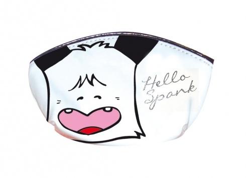 HELLO SPANK BUSTINA WHITE  Confezione Hello Spank make-up, composta da una bustina di colore bianco (15x6x4), un lucidalabbra trasparente e un altro rosso, un ombretto, multicolor, uno smalto e un pennellino stendi ombretto