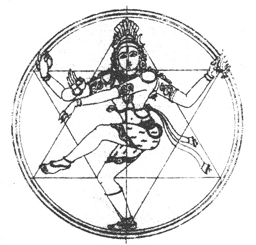 Shri Shiva Nataraj, the Cosmic Dancer. The Star of David represents the six-petalled lotus of the Swadisthana Chakra, the chakra of Creation. Though He is also the form of the Divine repsonsible for cosmic dissolution, the dance of Shri Shiva brings the Universe into being.