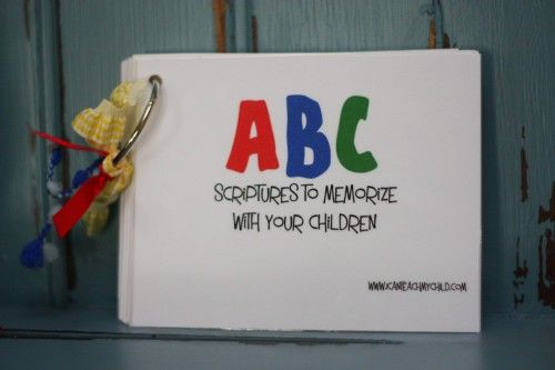 ABC scriptures to memorize with your children. So cute ... you could even do these yourself!!  Blog also has lots of ideas on teaching your kids from birth on up!