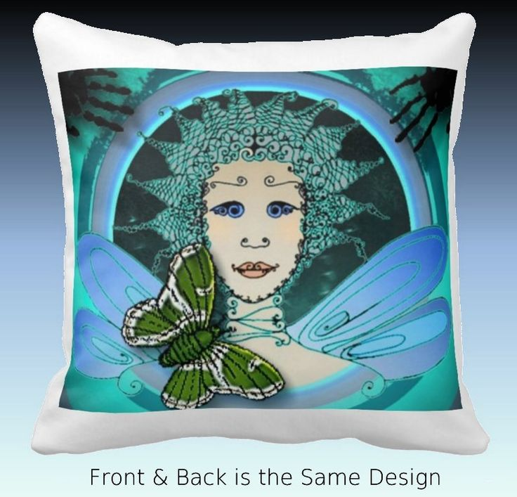 Throw Pillow with Decorative Art - Fairy with Green Butterfly