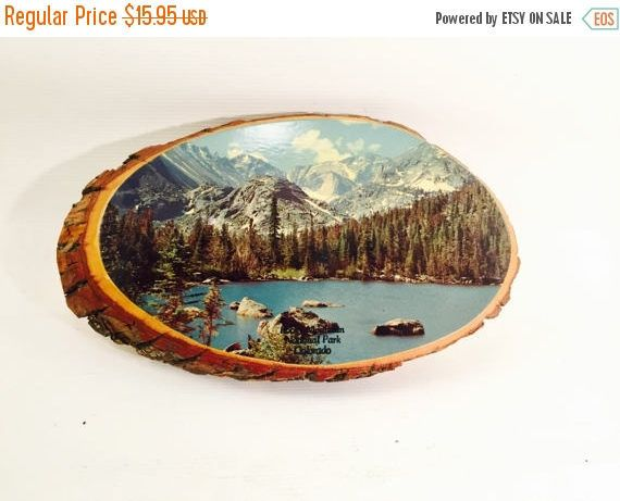 SPRING SALE Souvenir Rocky Mountain national park colorado vintage wooden plaque on tree ring shalacked photo of Rocky Mountains