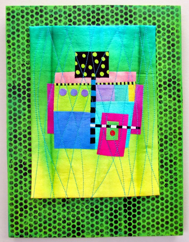 """Melody Johnson: Dots Show Business Hand dyed cottons and silks, some commercial prints, fused and machine quilted, mounted on hand painted and stenciled cradled wood panel. 9x12x1"""""""