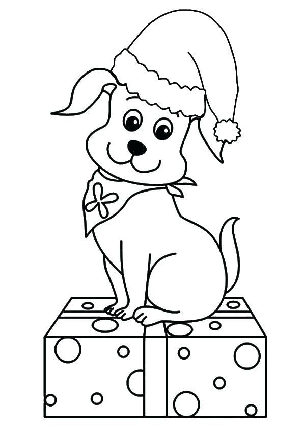 Cute Puppy For Christmas Coloring Page Puppy Coloring Pages Kids Christmas Coloring Pages Cute Coloring Pages