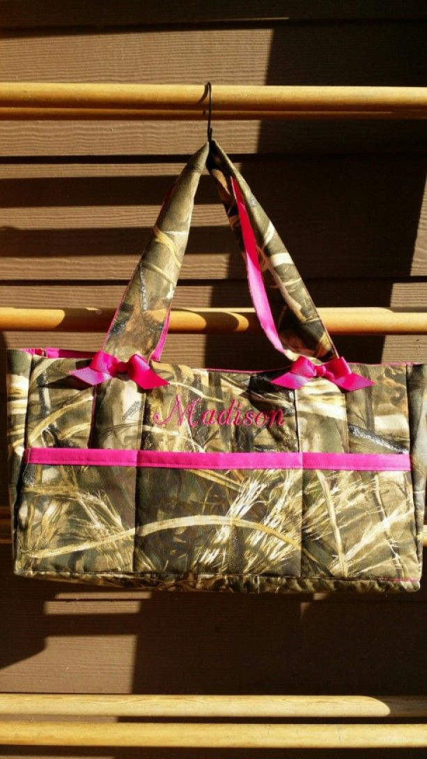 Realtree Max 4D or Realtree Max5D  Camo DIaper bag ***SALE***6pocket** with Name embroidered-custom and personalized- washable - baby shower gift idea for a hunter or outdoor girl - custom