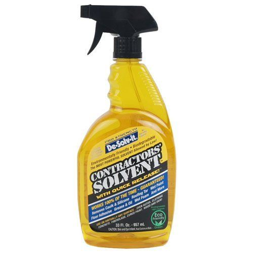 De-Solv-It Contractors Solvent, 33 oz by Orange Sol. $12.49. The most powerful solvent allowed by law! Works 100% of the time guaranteed! Removes caulk & silicone, roofing tar, wet paint, floor adhesive, grease & oil, wet foam, and more. Use on virtually any surface...even autos, clothing, concrete, feberglass, cured paint, wood, and skin.
