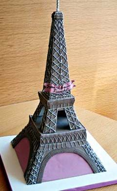 Artistic Paris inspired Eiffel Tower cake