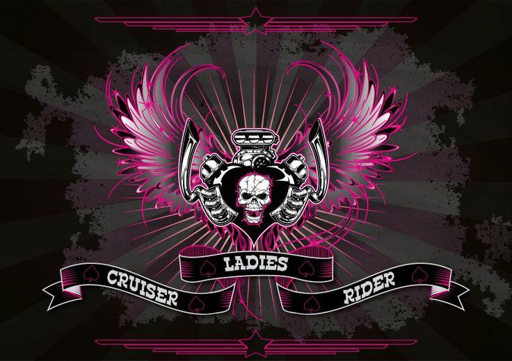 Klasik Motosiklet Kullanıcı Bayanlara Hitap eden enfes bir logo :) skull motorcycle ladies riders