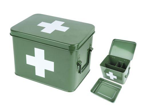 Home :: Woonartikelen :: Woondecoratie :: Medicijn opbergdoos metaal groen met wit kruis