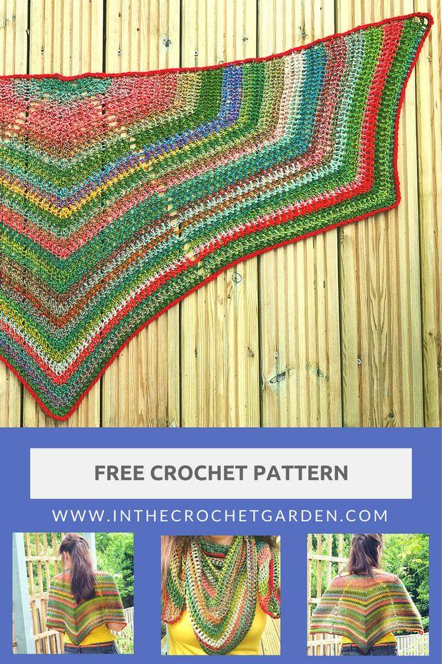 Crazy Zauberball Shawl, #crochet, free pattern, variegated yarn, wrap, #haken, gratis patroon (Engels), omslagdoek, verloopgaren, #haakpatroon