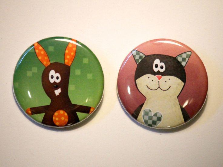 Button-Set Katze und Hase von Coccoloso auf DaWanda.com