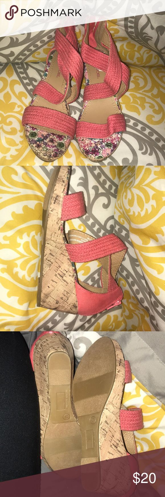 Wedges brand new with plastic tag attached Never worn . Plastic tag attached ! They are a size 3 in kids I'm guessing but I'm a 5 1/2 to 6 and they fit me when I tried them on! target Shoes Wedges