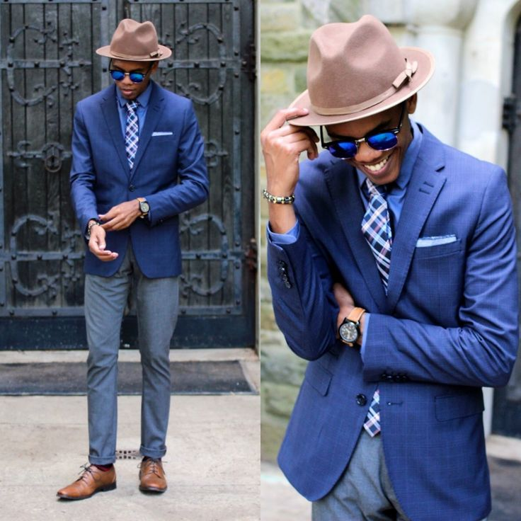 Justin T - Brooklyn Hat Co., H&M Blazer, Mosaic Menswear Tie, Dha 1 Pocket Square, Timex Watch, Urban Outfitters Sunglasses, Zara Pants, Aston Grey Shoes - Eyes Changing Color
