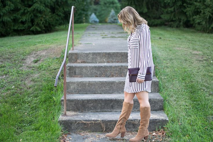 striped shirtdress, lace-up, teacher style, teacher outfit, fall teacher outfit, fall style, fall outfit, fall look, Nordstrom, horizontal stripes, horizontal striped dress, wine, navy, white, oxblood, knee high boots, Ugg boots, heeled Ugg boots, striped dress, Wayf, snakeskin clutch, Old Navy, what to wear on Thanksgiving, Thanksgiving outfit, 2016 Thanksgiving style // Emillion Thoughts
