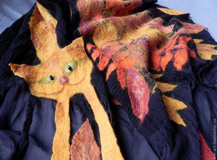 Купить палантин ОСЕНЬ-рыжая кошка - осенние листья, золотая осень, краски осени